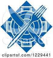 Clipart Of A Blue Plate And Silverware Diamond Royalty Free Vector Illustration