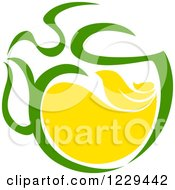 Clipart Of A Green Tea Pot With Steam Royalty Free Vector Illustration