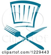 Clipart Of A Blue Chef Hat And Silverware Royalty Free Vector Illustration