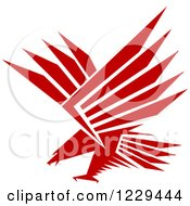 Clipart Of A Red And White Flying Eagle Royalty Free Vector Illustration