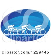 Clipart Of White Cyclists In A Blue Oval Royalty Free Vector Illustration