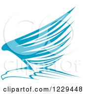 Clipart Of A Blue And White Flying Eagle Royalty Free Vector Illustration
