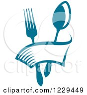 Clipart Of A Blue Fork And Spoon With A Banner Royalty Free Vector Illustration
