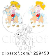 Clipart Of Black And White And Colored Girls Riding Ponies Royalty Free Vector Illustration