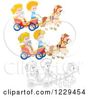 Black And White And Colored Children And A Cat Riding In A Horse Cart