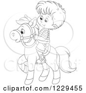Clipart Of A Black And White Boy Riding A Pony Royalty Free Vector Illustration