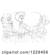 Clipart Of Black And White Children And A Cat Riding In A Horse Cart Royalty Free Vector Illustration