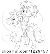 Clipart Of A Black And White Girl Riding A Pony Royalty Free Vector Illustration
