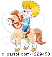 Clipart Of A Caucasian Blond Boy Riding A Pony Royalty Free Vector Illustration