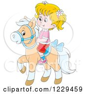 Clipart Of A Blond Caucasian Girl Riding A Pony Royalty Free Vector Illustration