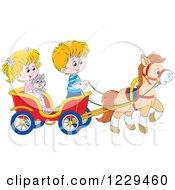 Caucasian Children And A Cat Riding In A Horse Cart