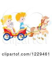 Blond Caucasian Children And A Cat Riding In A Horse Cart