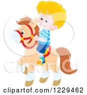 Blond Boy Riding A Pony