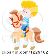 Clipart Of A Blond Boy Riding A Pony Royalty Free Vector Illustration by Alex Bannykh