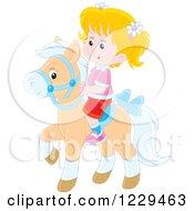 Blond Girl Riding A Pony