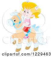 Clipart Of A Blond Girl Riding A Pony Royalty Free Vector Illustration by Alex Bannykh