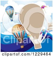 Clipart Of A Hot Air Balloon Kite Cloud And Wave Background Royalty Free Vector Illustration by merlinul