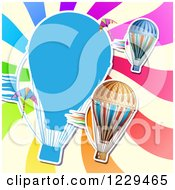 Clipart Of A Hot Air Balloon Kite And Colorful Ray Background Royalty Free Vector Illustration