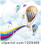 Clipart Of A Hot Air Balloon Kite Rainbow Wave And Cloud Background Royalty Free Vector Illustration