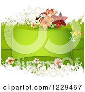 Clipart Of A Frame Over Green With Flowers Shamrocks And Lilies Royalty Free Vector Illustration by merlinul