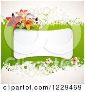 Clipart Of A White Frame Over Green With Flowers Shamrocks And Lilies Royalty Free Vector Illustration by merlinul