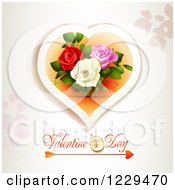Clipart Of Valentines Day Text Under A Heart With Roses And Butterflies On Off White Royalty Free Vector Illustration