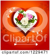 Clipart Of Valentines Day Text Under A Heart With Roses And Butterflies On Red Royalty Free Vector Illustration