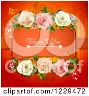 Clipart Of Valentines Day Text Framed With Roses Hearts And Butterflies On Red Royalty Free Vector Illustration