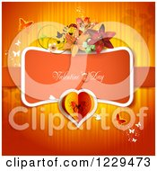 Clipart Of Valentines Day Text With Lilies Butterflies And Hearts Over Red Royalty Free Vector Illustration
