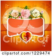 Clipart Of Valentines Day Text With Roses Butterflies And Hearts Over Red Royalty Free Vector Illustration