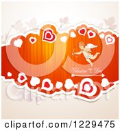Clipart Of Valentines Day Text With Cupid Hearts And Butterflies On Off White Royalty Free Vector Illustration