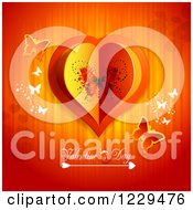 Clipart Of Valentines Day Text Under A Heart With Butterflies And Lights Royalty Free Vector Illustration