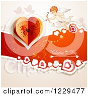 Clipart Of Valentines Day Text With Cupid Hearts And Butterflies Royalty Free Vector Illustration by merlinul