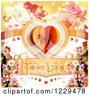 Clipart Of Valentines Day Text Under A Heart With Roses Flowers And Flares Royalty Free Vector Illustration