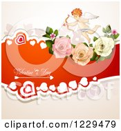 Clipart Of Valentines Day Text With An Aiming Cupid Hearts And Roses Royalty Free Vector Illustration