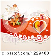 Clipart Of A Butterfly Heart On Red With Lilies And Cupid Royalty Free Vector Illustration