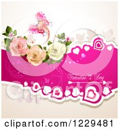 Clipart Of Valentines Day Text On A Pink Banner With Hearts Roses And Butterflies Royalty Free Vector Illustration