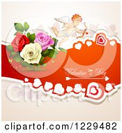 Clipart Of Valentines Day Text With Cupid Hearts And Roses Royalty Free Vector Illustration