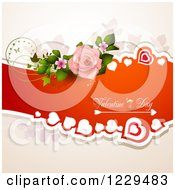 Valentines Day Text On A Red Banner With Hearts Roses And Butterflies