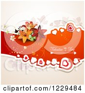 Valentines Day Text On A Red Banner With Hearts Lilies And Butterflies