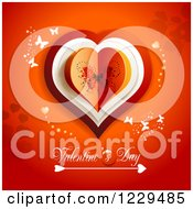 Clipart Of Valentines Day Text Under A Heart With Butterflies On Red Royalty Free Vector Illustration