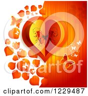 Clipart Of A Butterfly Heart With Hearts Over Half White Half Orange Royalty Free Vector Illustration