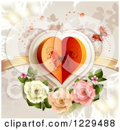 Clipart Of A Butterfly Heart With Roses And Branches Royalty Free Vector Illustration