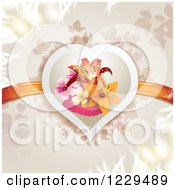 Clipart Of A Floral Lily Heart With Ribbons Over Branches Royalty Free Vector Illustration