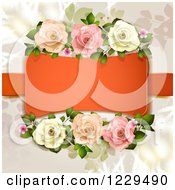 Clipart Of A Frame With Roses And Hearts Over Branches Royalty Free Vector Illustration