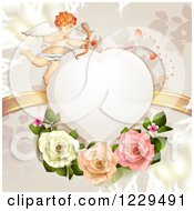 Clipart Of A Heart Frame With Cupid Roses Branches And Gold Ribbons Royalty Free Vector Illustration