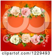 Clipart Of A Frame With Roses Hearts And Butterflies On Red Royalty Free Vector Illustration