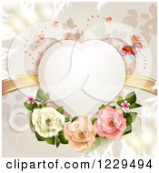 Clipart Of A Heart Frame With Butterflies Roses Branches And Gold Ribbons Royalty Free Vector Illustration