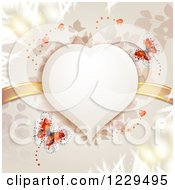Clipart Of A Heart Frame With Butterflies Branches And Gold Ribbons Royalty Free Vector Illustration