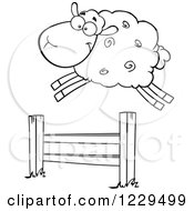 Clipart Of A Black And White Sheep Leaping Over A Fence Royalty Free Vector Illustration